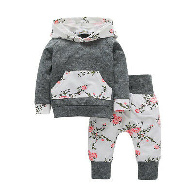 Pretty 2pcs Toddler Infant Baby Boy Clothes Set Floral Hoodie Tops+Pants Outfits
