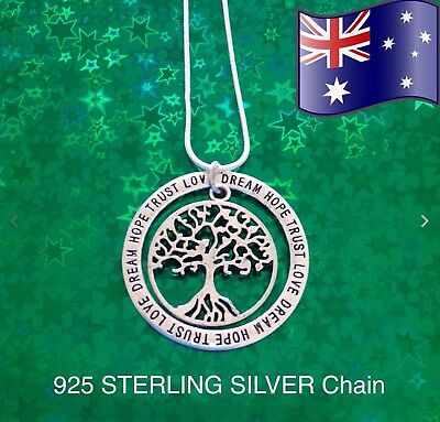Tree of Life Hope Dream Trust Inspirational Pendant 925 Sterling Silver Necklace