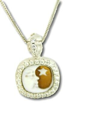 Cameo Half Moon  Pendant Necklace Christmas 925 Sterling Silver Made Italy