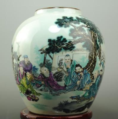 Old chinese famille rose porcelain Xiangshan eight immortals pattern pot c01