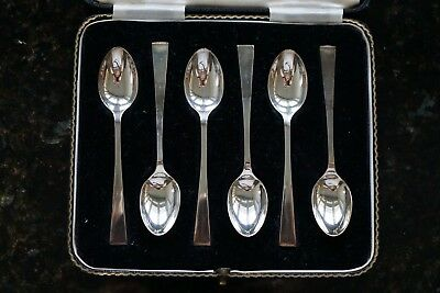 Cased Set 6 Solid Silver ART DECO Coffee Tea Teaspoons Spoons - 47grs