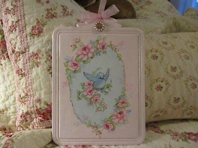 Shabby Chic Hand Painted Roses - Beautiful Bluebird and Roses Vintage Plaque