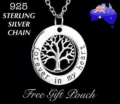 Forever in my Heart Tree of Life Charm Pendant 925 Sterling Silver Necklace Gift