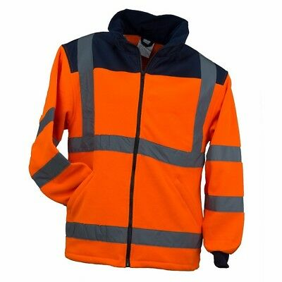 Hi Vis Viz Visibility Fleece Jacket Rain Patch Safety Work Mens Warm