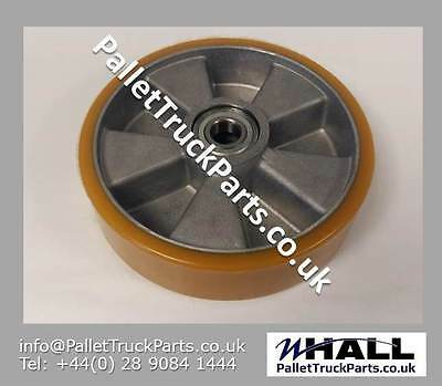 200/50mm Orange PU/steel hand pallet truck steer wheel inc.bearings - W60mm hub