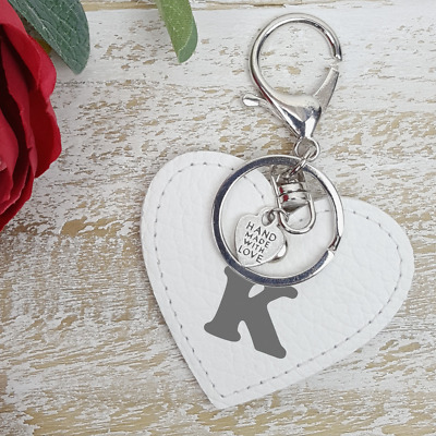 Initial White Love Heart Real Leather Keychain Personalised Handmade Lover Gift