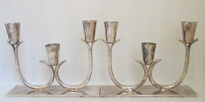 Pair SILVERPLATE Candle Holders PRIMROSE PLATE EP COPPER BIRKS CANADA CANDELABRA