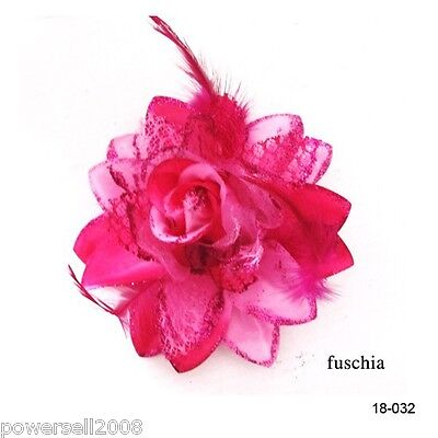 Fuschia Women Bridal Hair Flower Fascinator Wedding Hair Accessories Headwear !