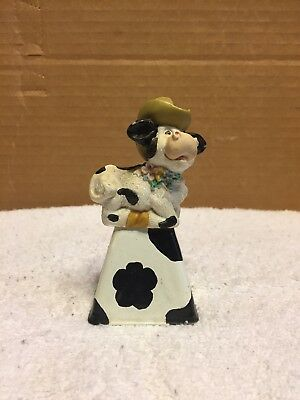 Russ Cow Figurine On A Bell
