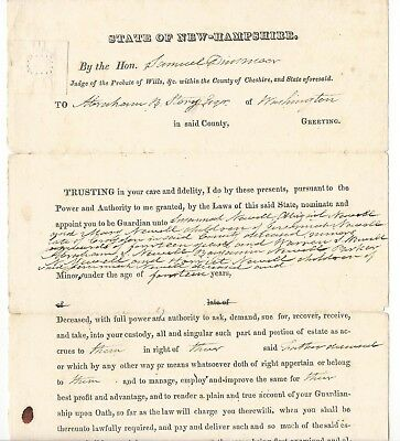 Samuel Dinsmoor New Hampshire Politician Document 1823 Story & Newell Family
