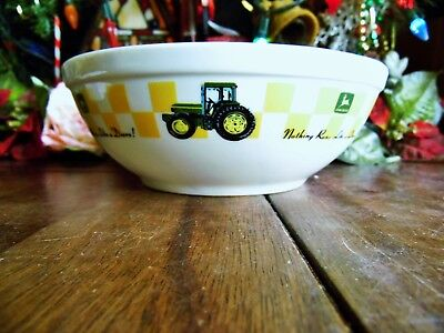 """1 John Deere Gibson 7"""" X 2.5"""" Nothing Runs Like A Deere Soup Cereal Pasta Bowls"""