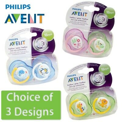 Philips Avent Freeflow Soother Twin Pack - Age 18m+ CHOICE OF DESIGN  (A76)