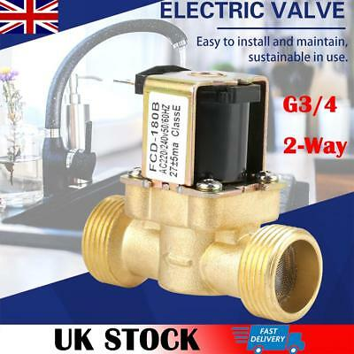 G3/4 2 Way Water Inlet N/C Normal Closed Electric Solenoid Valve AC 220/240V UK