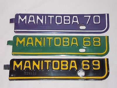 1968 1969 1970 Manitoba MB Canada License Plate Strips Tabs Vintage Lot
