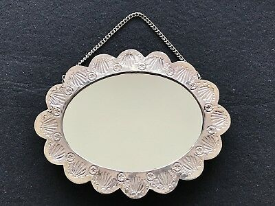 Ornate Floral Design Turkish 900 Silver Framed Mirror With Chain Signed Balc
