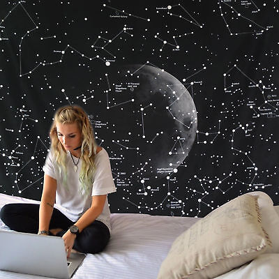 Constellation Moon Tapestry Space Planet Galaxy Mandala Bedspread Wall Decor