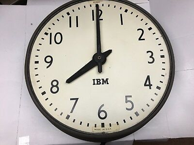"IBM Wall Clock 95925 13"" Industrial Gray Metal Base Vintage"