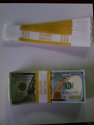 100 New Self-Sealing Currency Bands - $10,000 Denomination - Straps Money 100's