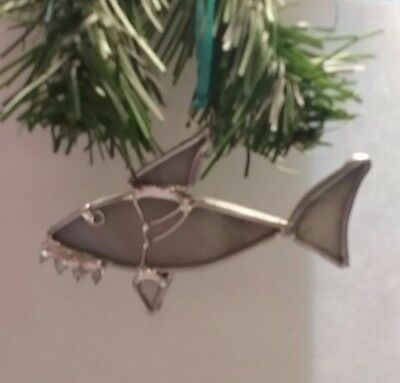 Stained Glass Art Christmas Great White Shark Ocean Jaws Tree Ornament