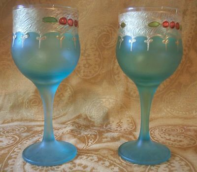Wine Glass Green With Gold Elaborate Trim Lot of 2