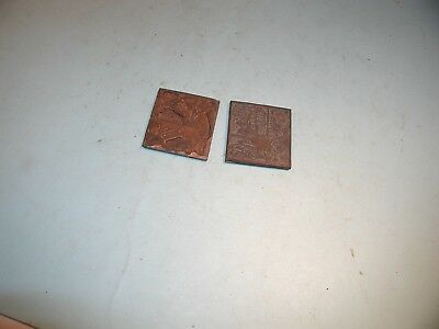 2 Vintage Small Copper Printing Plates