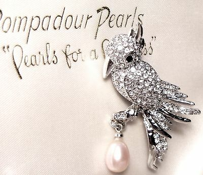 Vintage Jewellery Stunning Art Deco Rhinestone & Fresh Water Pearl Bird Brooch