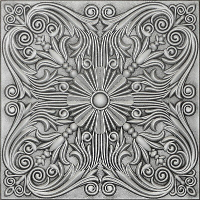 Ceiling Tiles Painted Tin Look 20x20 Styrofoam R39A Antique Silver