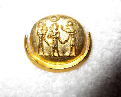 King Tut Egyptian Gold Plated Pendant MMA Met Museum Disc & Moon Crescent 1976