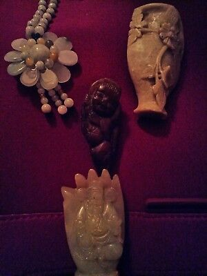 BIG CHINESE LOT with Jade and more handcarved pendants,amulets