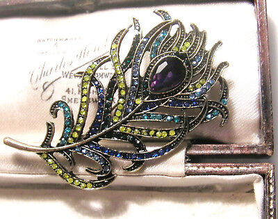 Vintage Jewellery Stunning Art Deco Peacock Feather Rhinestone Brooch