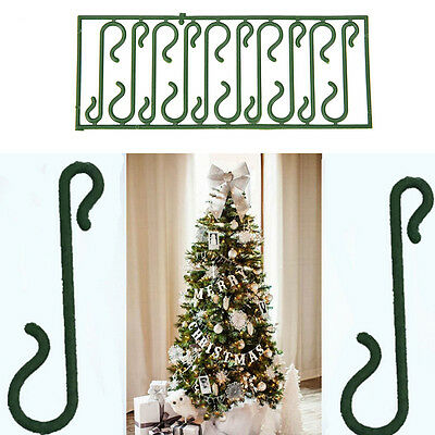 10X Small Green Christmas Ornament Tree Hook Decoration Hanger Wire Ea