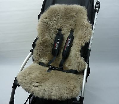 SHEEPSKIN CAPPUCCINO Buggy Pushchair Pram Car Seat Liner Mat Natural Warm Fluffy
