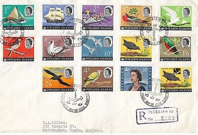PITCAIRN IS 1967 Queen Elizabeth new definitives set of 13 on typed cover 1638