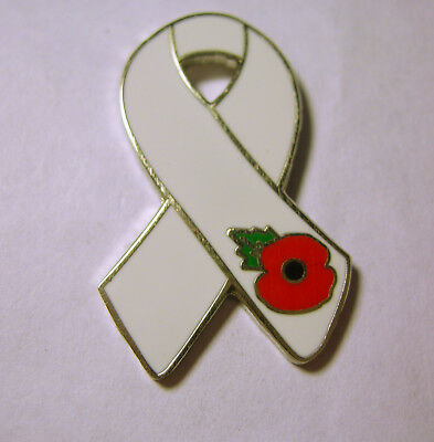 White Remembrance Ribbon with Poppy Pin Badge New