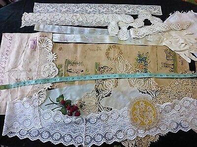 Lot 23 Antique Victorian  Sampler Lace Crochet Hand Silk Embroidery Doll Ribbon