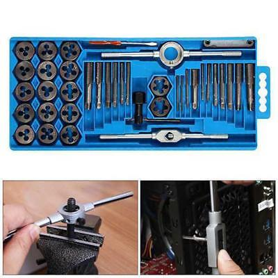 40Pc Heavy Duty Pro Metric Tap Wrench And Die Set Cuts M3-M12 Bolts+Storage Case