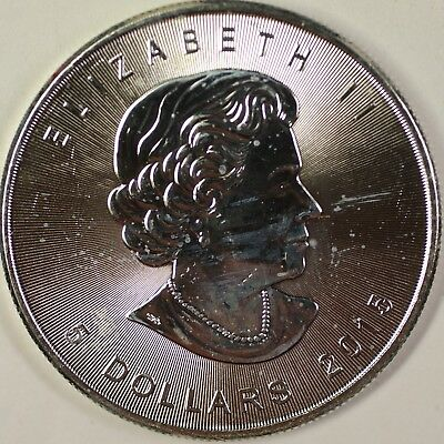 2015 Canada $5 Five Dollars 9999 Maple Leaf Silver BU Queen Elizabeth II Coin