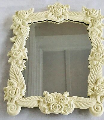 NIB Vintage Avon Vanity Mirror w/ Ornate White Roses - 2000 Avon Gift Collection