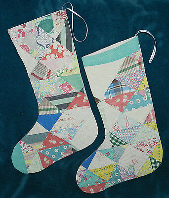 Awesome Pastel Antique Vintage Cutter Quilt Christmas Stocking! 16-52
