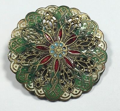 Antique Large French Button Enamel Red Green Pierced Brass Stunning Flat