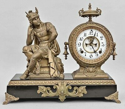 Antique figural Mercury God mantle clock by Ansonia New York circa 1895