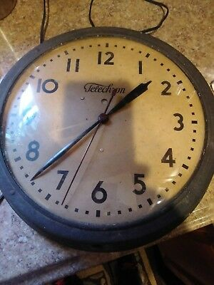 "Antique 15"" Bubble Glass Round, Telechron School House Wall Clock,WORKING"
