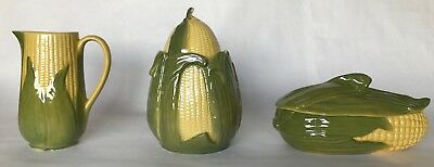 3 Pieces of Shawnee Pottery CORN KING cookie jar casserole pitcher