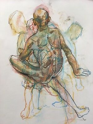 Original Unique Art Work, Life Drawing Male Nude by Catherine MacDiarmid, Pastel