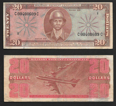$20 Series 681 Military Payment Certificate Very Nice Mid Grade Beauty