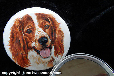 2 Welsh Springer Spaniel POCKET MIRRORS art painting Rare,HighQuality,Heavy,USA
