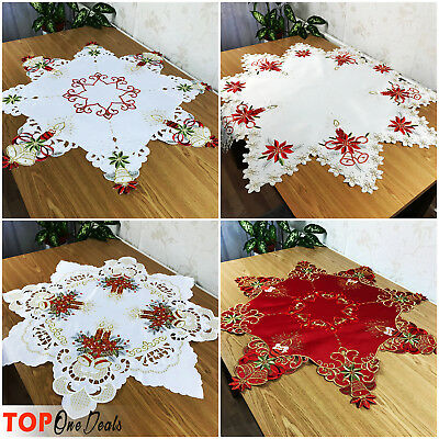 Amazing Christmas Star Table Runner Tablecloth White Red with Candles and Bells
