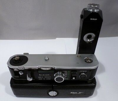 Nikon Mint RARE MD-1 Motor Drive & MB-1 Battery Pack w/Metal Base for F2 #207477