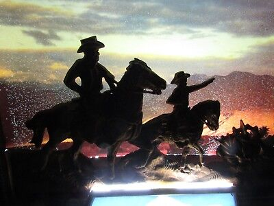 BUSCH BEER 1980's WESTERN COWBOYS NIGHT SKY lighted sign