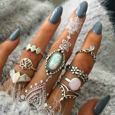 LX_ 8Pcs/Set Retro Faux Opal Women Midi Knuckle Ring Stacking Finger Jewelry G